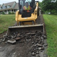 Working on a driveway